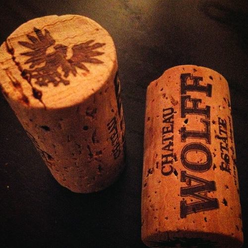 Corks with Chateau Wolff Estate logo stamped on them